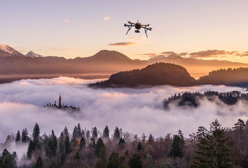 Spokane drone stock image